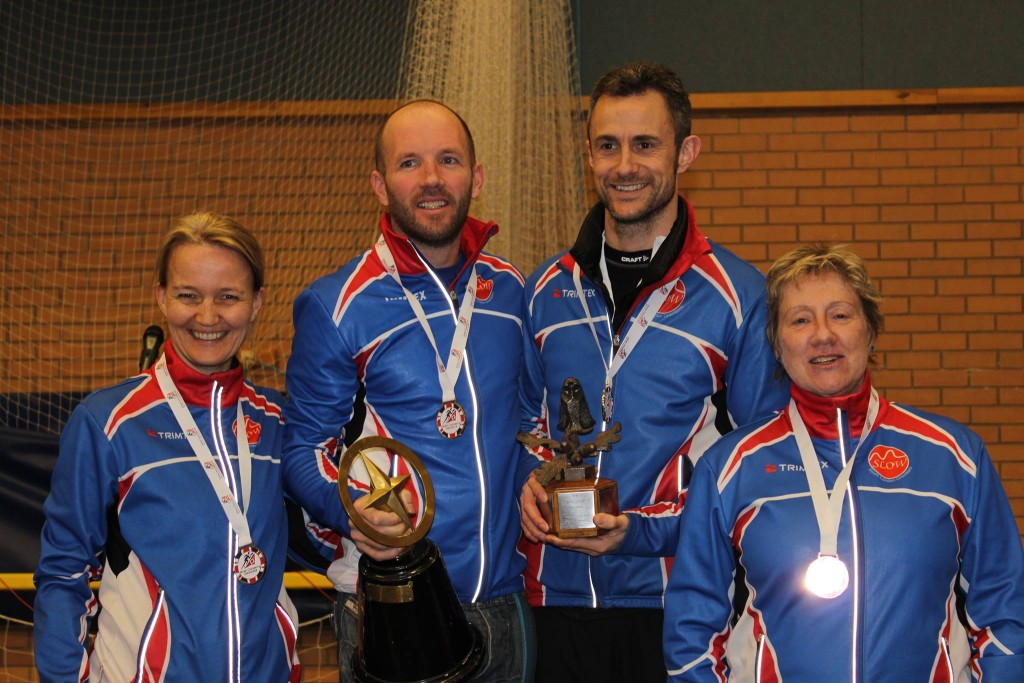 SLOW medal winners Dorte Torpe Hansen, Tom Davies, Paul Couldridge and Christine Robinson at the 2016 British Night Championships. Photo by Nick Barrable.