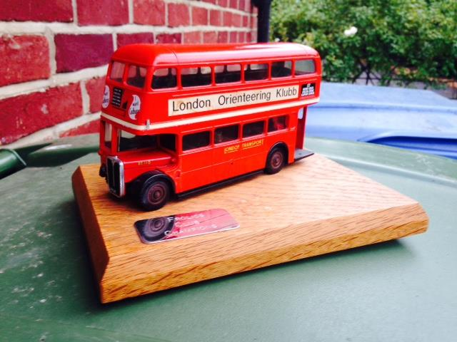 The prestigious London Bus trophy for the Greater London Orienteering Clubs' Summer Series