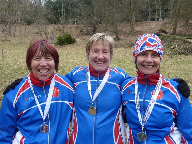 Di Leakey, Chris Robinson and Sarah Brown, runners-up in the Women's Veterans Relay