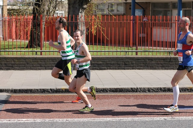 Harold Wyber looking very comfortable on his way to a 2:35 finish in the 2013 Virgin London Marathon, courtesy of Eoin O'Callaghan