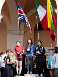 Helen Gardner at the top of the winners' podium at the ROMe Orienteering Meet 2013